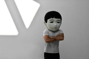 Sad Japanese man. Puppet head. by oanaunciuleanu