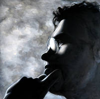Shadowed Dimi, 100-100cm, oil on canvas by oanaunciuleanu