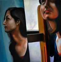Double, 2012, 100-100cm, oil on canvas by oanaunciuleanu