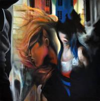 Strangers, 2013, 100-100cm, oil on canvas by oanaunciuleanu