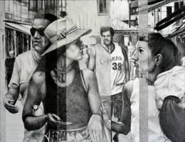 The promenade, 2015, 50-65cm, graphite crayon by oanaunciuleanu