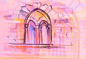Watercolor sketch with classical window. by oanaunciuleanu