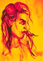 Colorful delicate watercolor portrait of girl by oanaunciuleanu