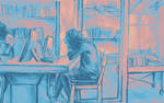 Watercolor of girl studying in a cafe or library
