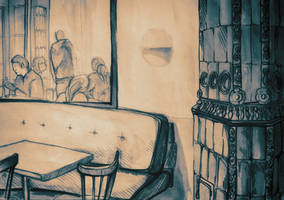 Watercolor of interior of a bar by oanaunciuleanu