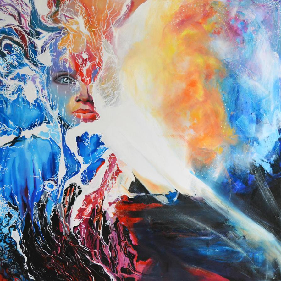I wish upon the stars, 100-100cm, 2017, oil by oanaunciuleanu