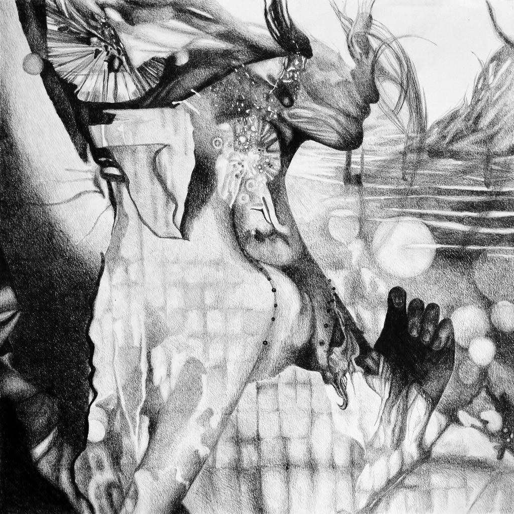 Feel my heart burning, 2017, 50-50cm, graphite by oanaunciuleanu