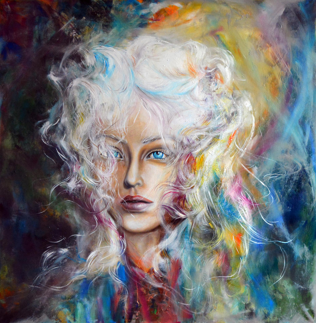 Let the fire burn the ice, 100-100 cm, 2017, oil by oanaunciuleanu