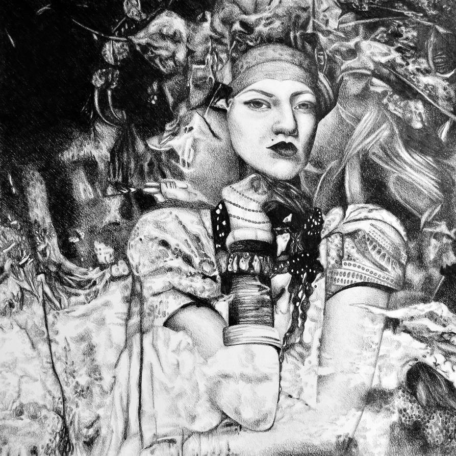Sweet oblivion, 2017, 50-50 cm, graphite crayon by oanaunciuleanu