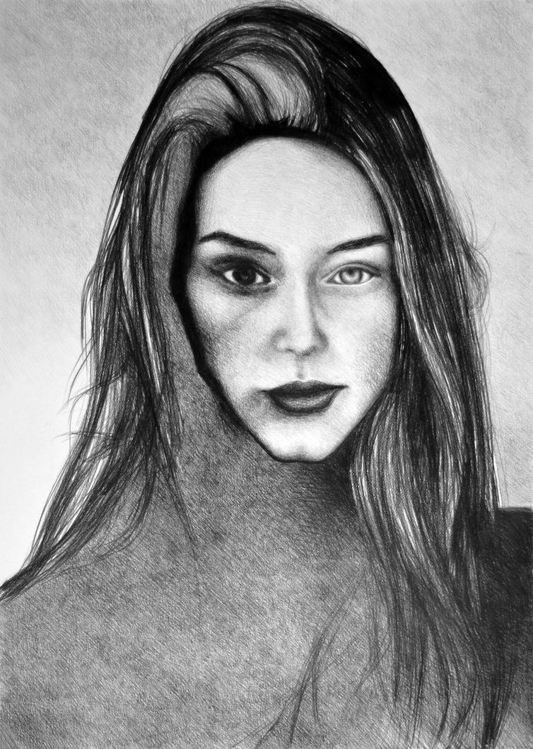 I Am Machine, 2017, 50-70cm, graphite crayon by oanaunciuleanu