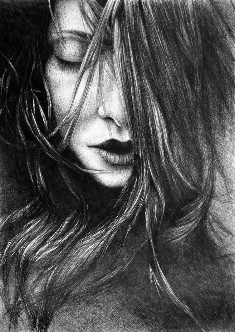 Like A Storm, 2017, 50-70cm, graphite crayon by oanaunciuleanu