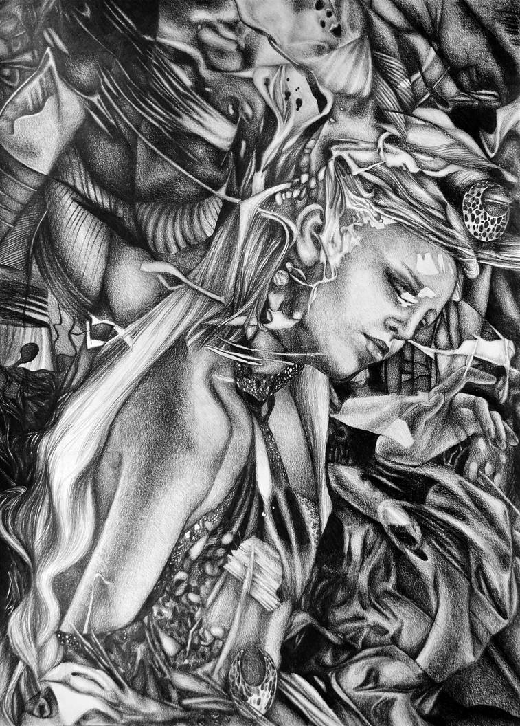 Silent Whispers, 2019, 50-70cm, graphite crayon by oanaunciuleanu