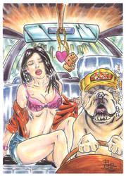 Pinups and Pitbulls Base Card by ChrisPapantoniou