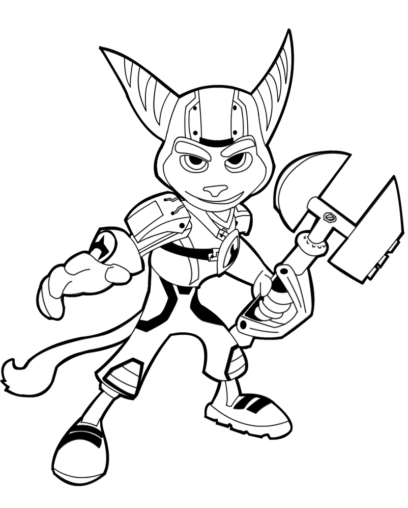 Collab ratchet line art by pale ninja on deviantart for Ratchet coloring pages