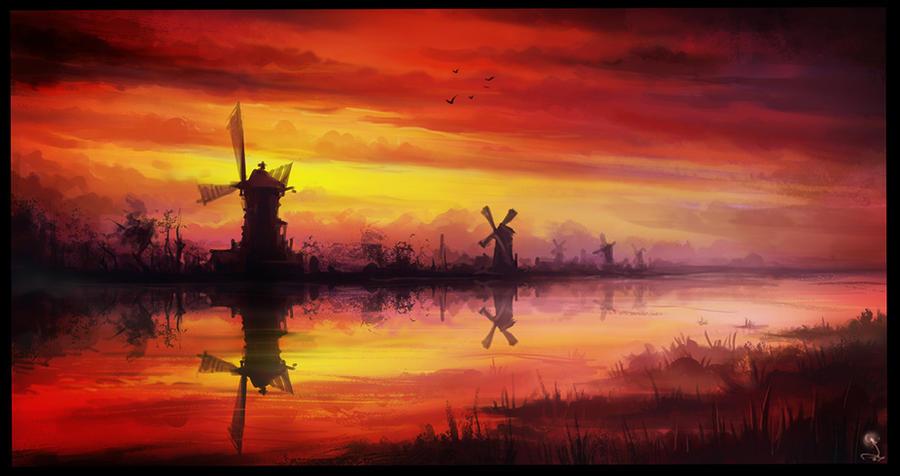 sunset by haryarti