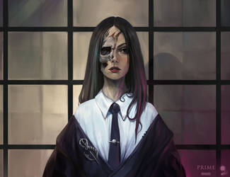 Half face girl by haryarti