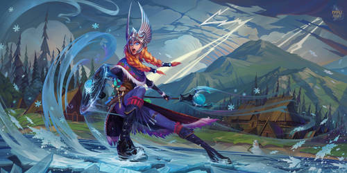 Crystal Maiden Valkyrie set. Dota 2 fan art by haryarti