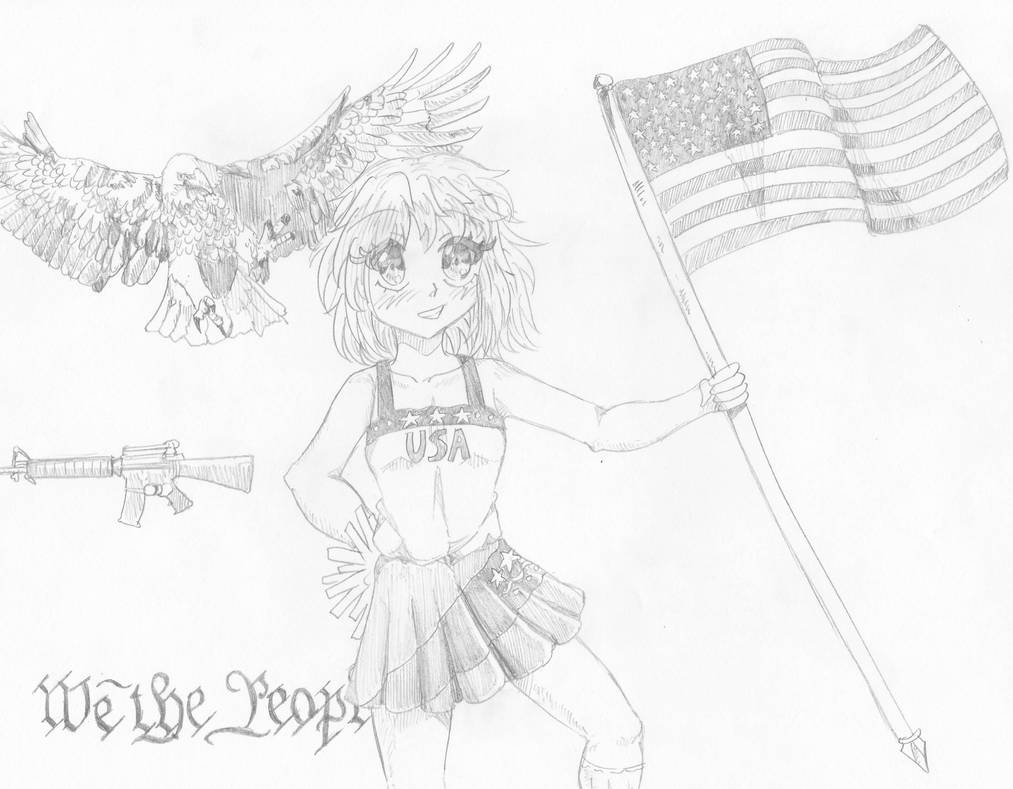 America-chan sketch by Candor-Shade