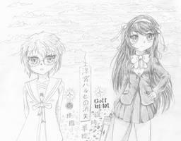 Haruhi and Nagato sketch 1-2020
