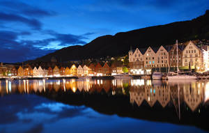Bergen Norway by night by JNW-Art