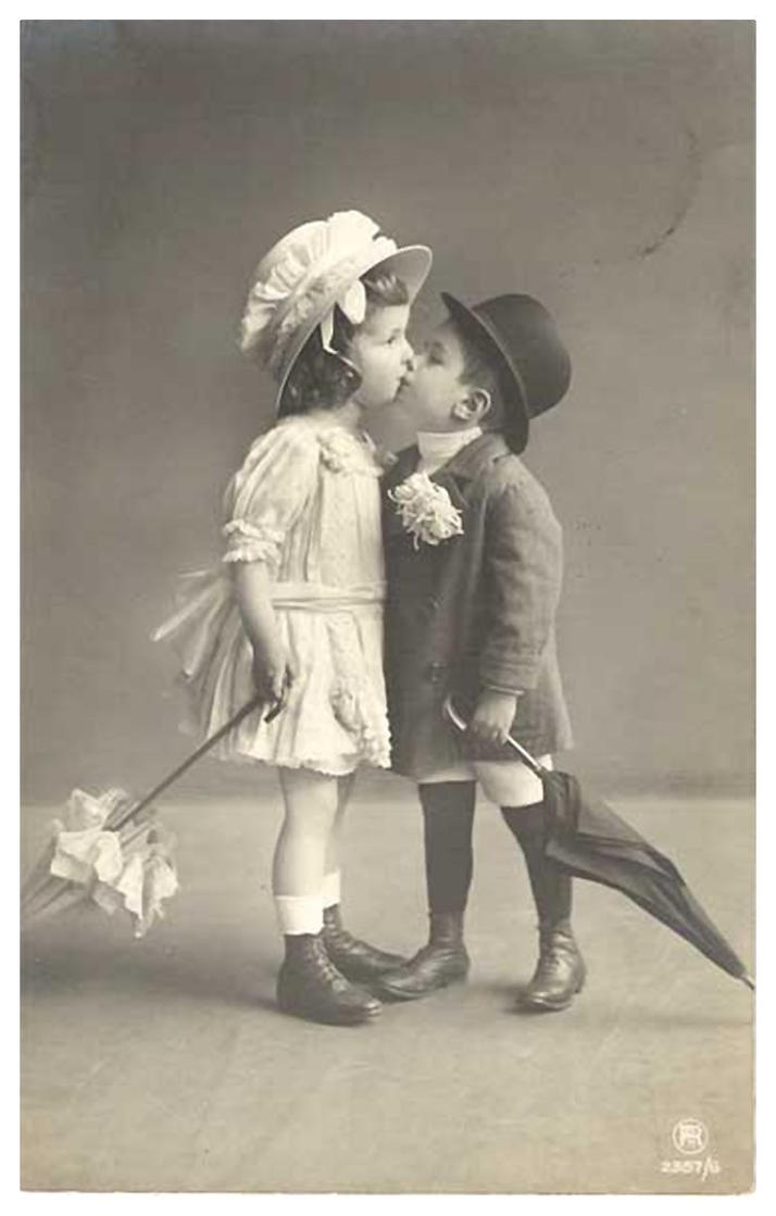 Vintage Children Kissing by Bnspyrd