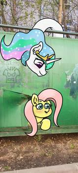 Pony in city