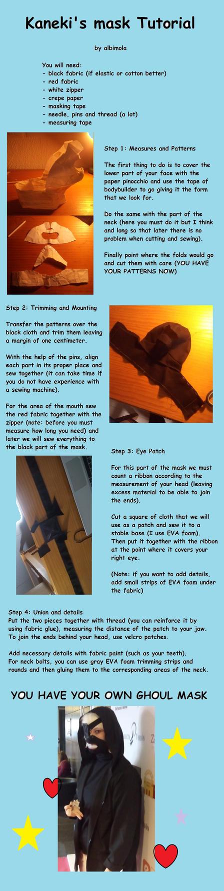 Kaneki's mask tutorial by albimola