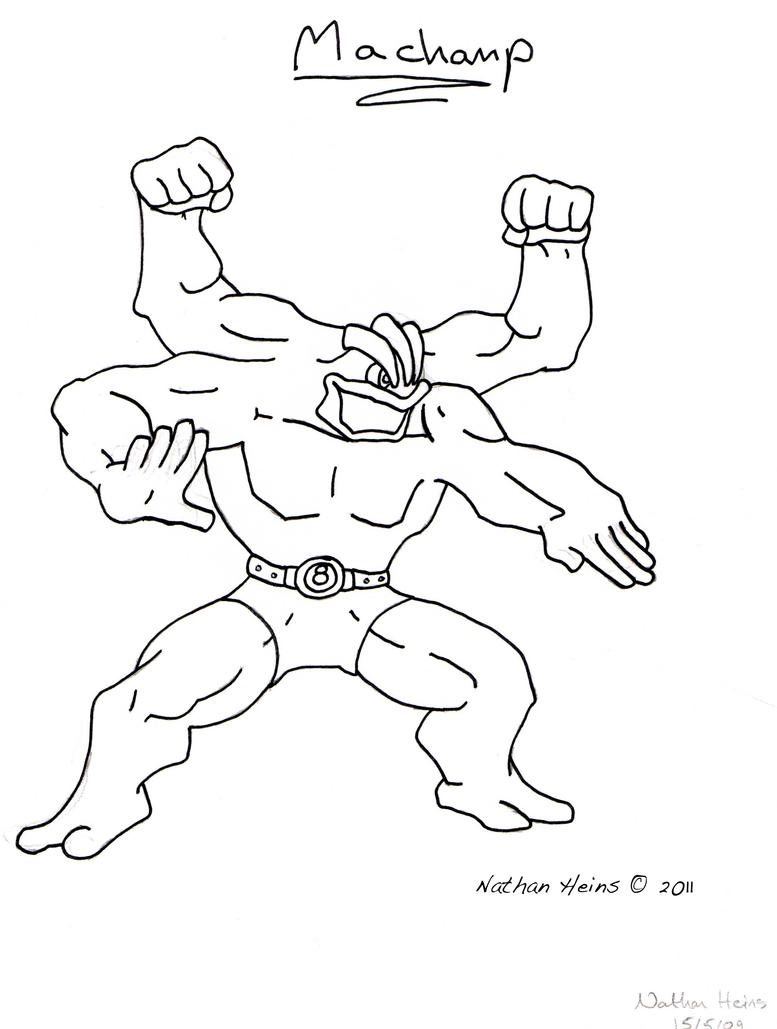 Pokemon Machamp Coloring Page Sketch Coloring Page