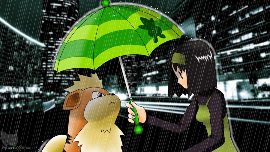 Pokemon - Erika and Growlithe (City) Wallpaper by Mega-X-stream