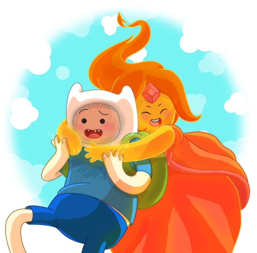 finn the human + flame princess (adventure time) by