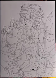 Arale  -  lineart by Drawings-forever