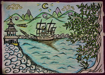 old drawing original -   landscape by Drawings-forever