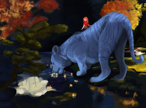 Big Blue Tiger Painting