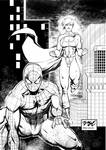 Powergirl and Spider Man ink final