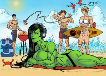 Commission Work-Double date with Beach Party by KyoungInKim