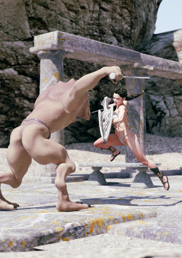 Bikini clad warrioress and Lizardman by bidabby