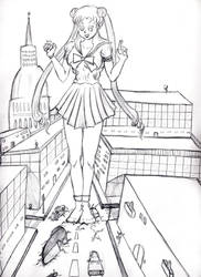 Giantess Usagi destroy a town by LittleFunBoy