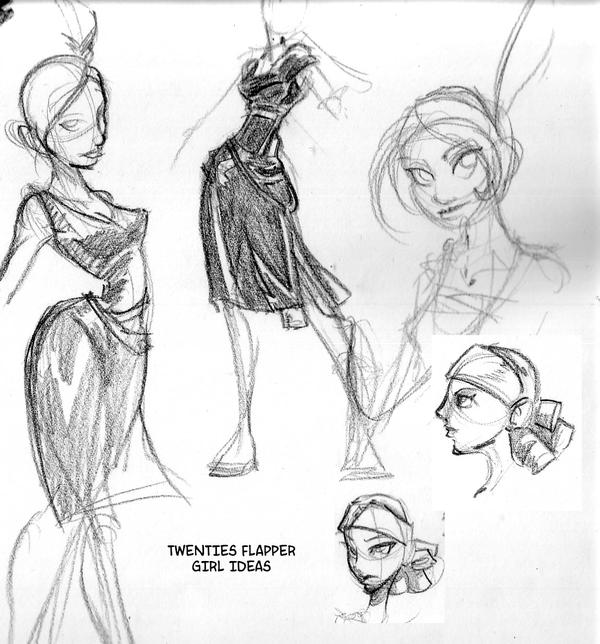 Flapper Girl Drawing 1920s 1920s flapper concept sketches