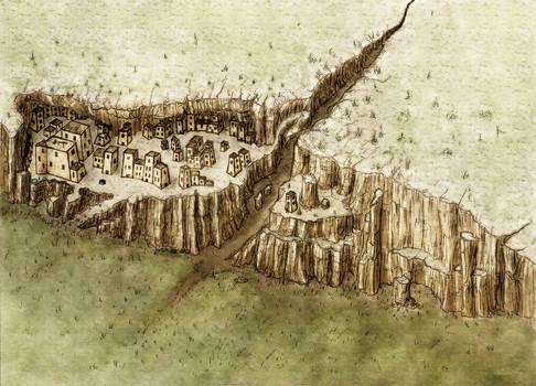 An Adobe cliffside city