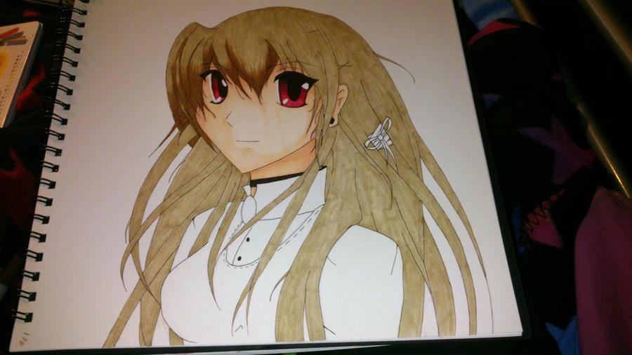 Anime Girl Lineart : Random girl lineart half coloured in copics by shaiyde on