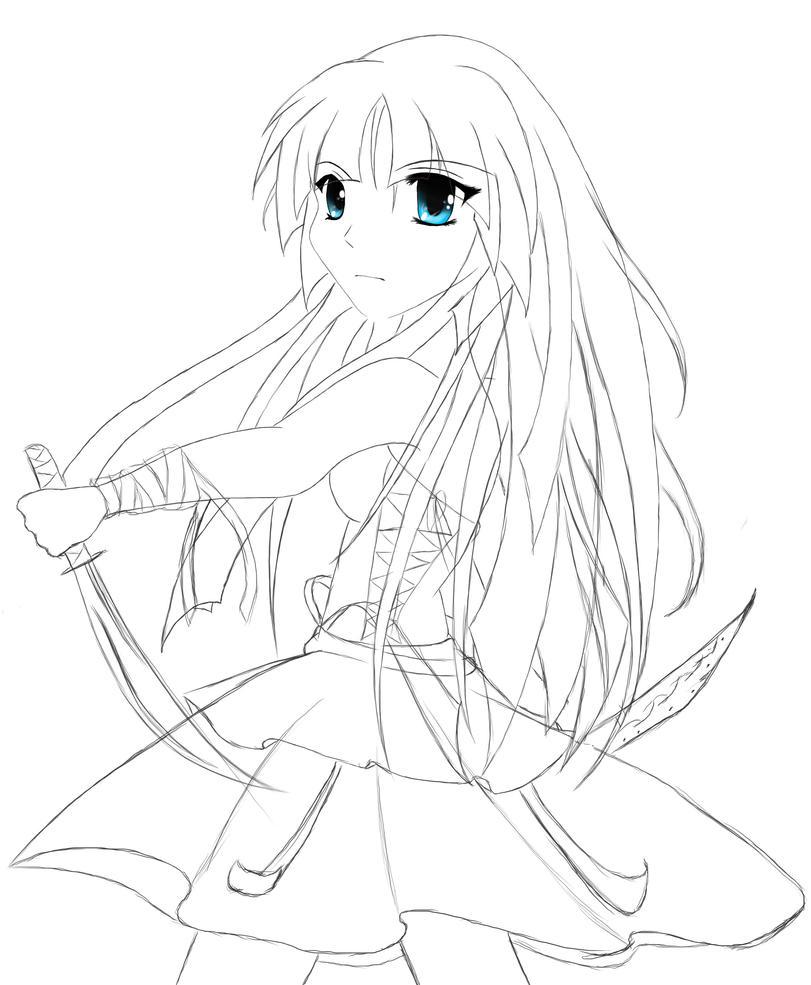 Line Drawing Girl : Warrior girl line art eyeballz by shaiyde on deviantart