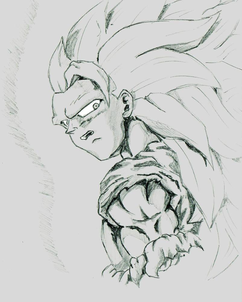 Ssj3 goku pencil sketch by kastrishis