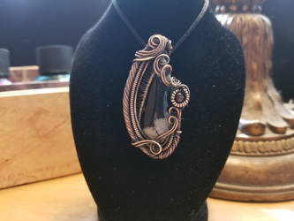 Snowflake Obsidian Wire Wrapped Pendant by KalisCoraven