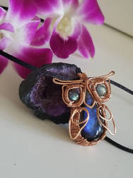 Labradorite and Copper Wire Wrapped Owl Pendant