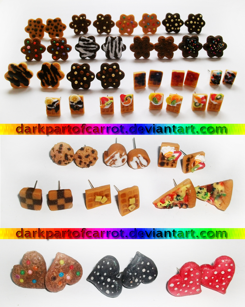 lots of polymer clay earrings by DarkPartOfCarrot