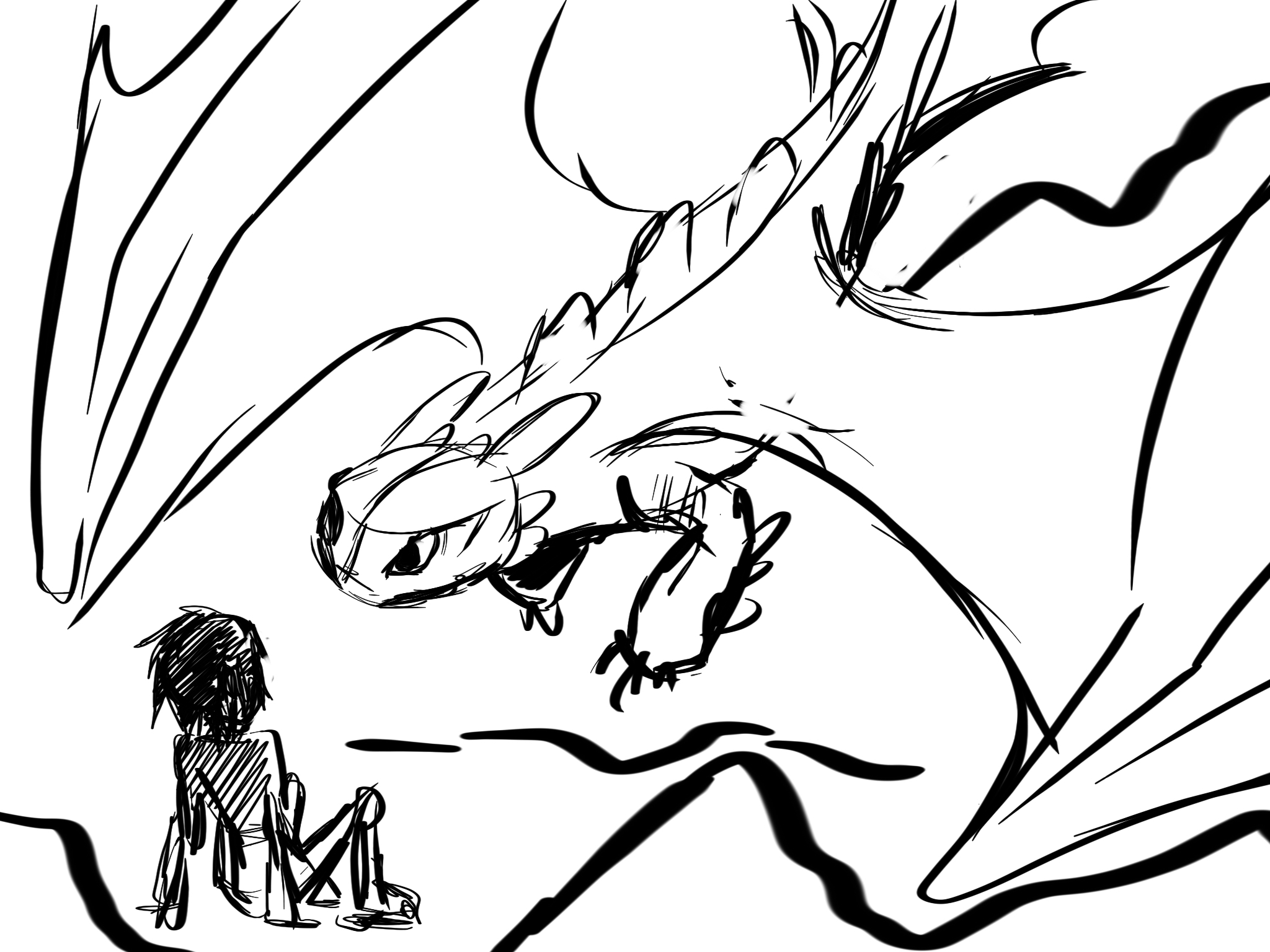 Fast sketch of Toothless and Hiccup by J-C-P