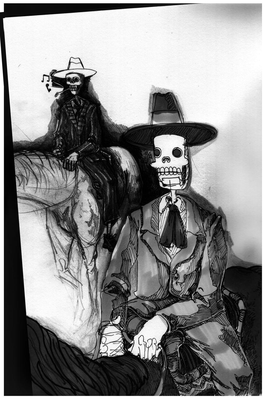 Skeletons on horseback