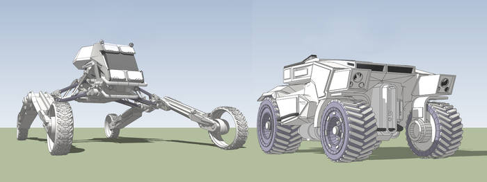Scout vehicles. Cricket MK3  and Warthog Mk2 by JohnMcCambridge