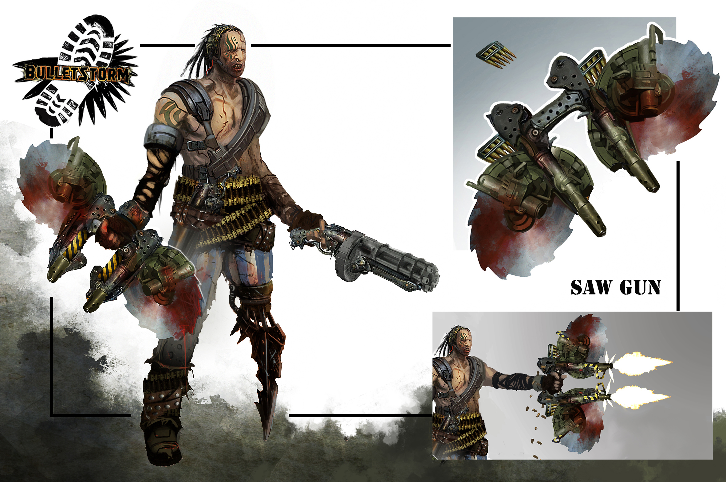 Bulletstorm Weapon concept. Double Ripper Sawgun by JohnMcCambridge
