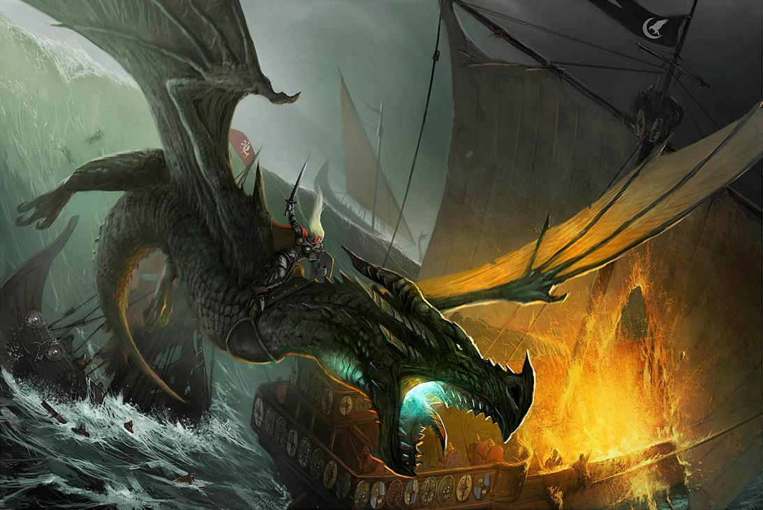 Visenya on her dragon Vhagar. by JohnMcCambridge